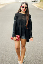 black studs Nollie sweater - ruby red bow Forever 21 bag