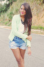 Chartreuse-tweed-zara-blazer-sky-blue-denim-forever-21-shorts