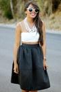 Black-full-midi-express-skirt-white-zara-top-white-chain-baublebar-necklace