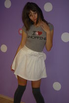 white Atmosphere skirt - gray pieces socks - silver Terranova t-shirt - vintage 