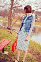 light blue vintage dress - blue Forever 21 jacket - red vintage purse