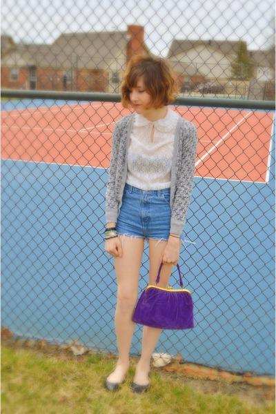 white vintage blouse - purple purse - blue DIY shorts