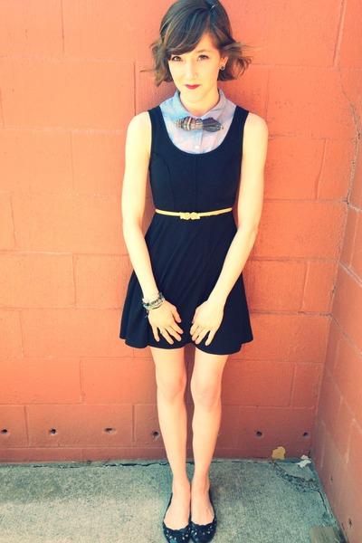 light blue H&M shirt - black thrift dress - blue plaid bow tie accessories