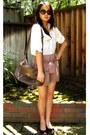 Light-brown-romwe-shorts-black-80s-purple-sunglasses-white-forever-21-blouse