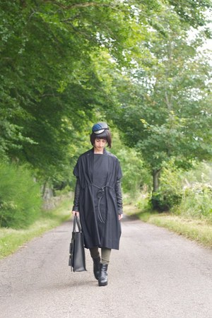 Rick Owens coat - Topshop jeans - vintage hat - acne bag - Rick Owens wedges