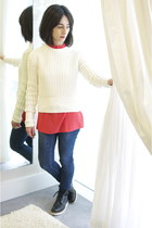 acne jumper - Grenson boots - GINA TRICOT jeans - Marc by Marc Jacobs blouse