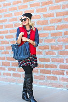 black Macys boots - black beanie JCrew hat - blue Michael Kors bag