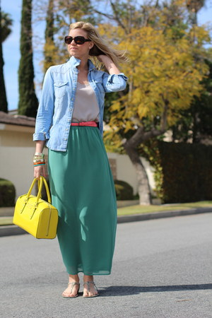 yellow kate spade bag - sky blue denim H&amp;M shirt - tan Nordstrom top
