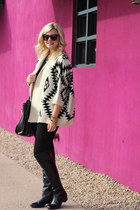 beige geometric Fringe & Lace sweater - black Macys boots - black Macys leggings