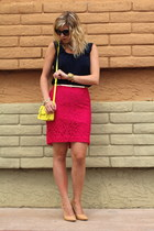 hot pink Target skirt - yellow Old Navy bag - navy Gap top