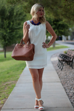 white chiffon Truly Yours dress - brown robinson tote tory burch bag