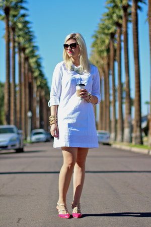 white shirtdress calvin klein dress - black cat eye Prada sunglasses