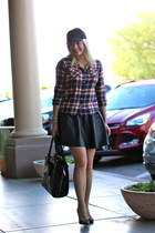 red plaid Target top - black faux leather H&M skirt - black Sole Society pumps