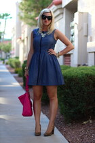 navy chambray Fashion Star dress - hot pink duffel coach bag