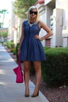 navy chambray Fashion Star dress - hot pink duffel coach bag