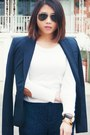 White-shoedazzle-shoes-white-forever-21-sweater-navy-theory-blazer