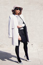 silver asos shoes - silver Zara coat - periwinkle BCBGeneration hat