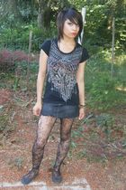 black Forever 21 t-shirt - gray Bullhead skirt - black Forever 21 tights