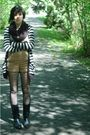 Black-metropark-scarf-beige-urban-outfitters-shirt-silver-thrifted-cardigan-
