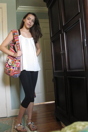 white Forever 21 blouse - black Capezio leggings - maliparmi shoes - pink Guatem