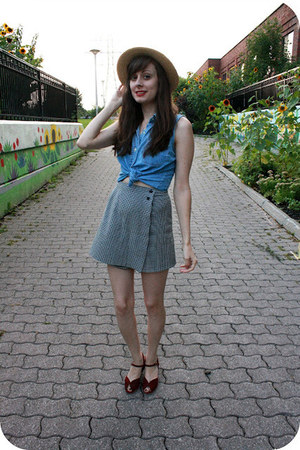 thrifted hat - thrifted skirt - thrifted top - vintage wedges