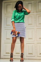 white lace skirt skirt - green silk shirt - ethnic clutch Forever 21 bag