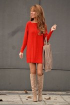 ruby red coton Zara dress