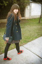 blue vintage coat - red Ebay sunglasses - red Paruolo shoes - blue vintage purse