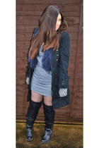 black studded biker boots - gray Peoples Market dress - black military coat - na