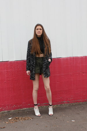 black asos shirt - black free people jacket - army green vintage shorts