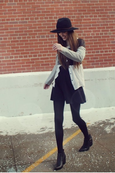 black Jeffrey Campbell boots - black H&M dress - black Urban Outfitters hat