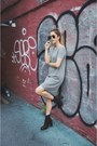 Black-acne-boots-heather-gray-zara-dress