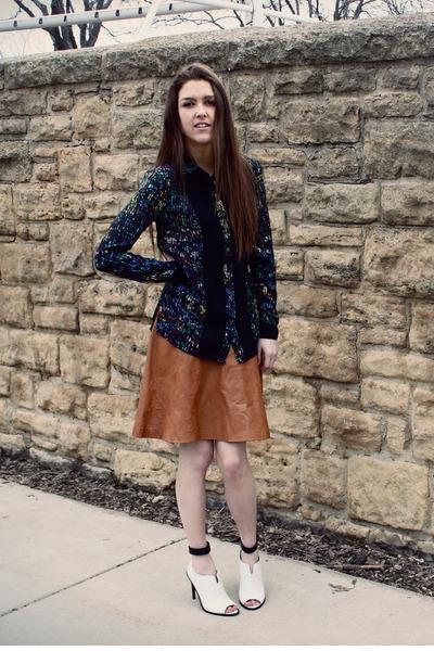 burnt orange leather vintage skirt - navy Derek Lam x Kohls shirt
