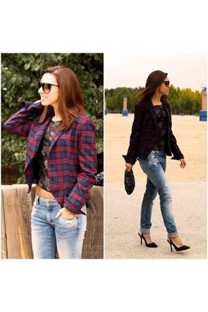 plaid Zara blazer - Zara jeans - Zara bag - Zara blouse - Zara heels