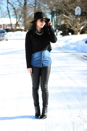 cropped Forever 21 sweater - Nordstrom hat - denim Wet Seal shirt