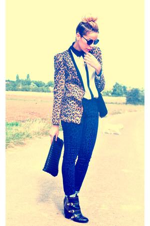 black Republik boots - leopard print nastygal blazer - black white asos shirt