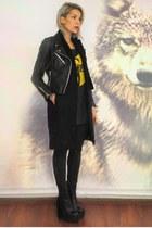 black leather Jeffrey Campbell boots - black perfecto Zara coat