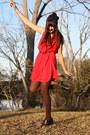 Brown-heels-nine-west-boots-red-dress-mango-dress