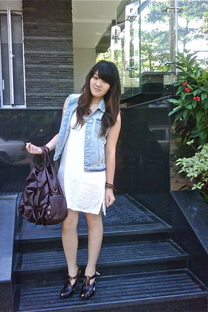 blue Zara jacket - brown Charles & Keith shoes - white Topshop dress - Topman br