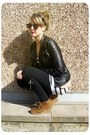 Leather-zara-jacket-h-m-dress-fur-vintage-scarf-zara-sunglasses