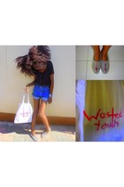 denim shorts ReDenim shorts - espadrille River Trader shoes - cloth DIY bag
