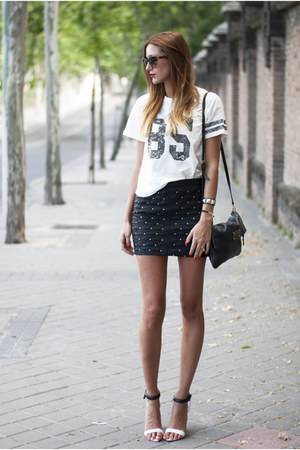 black Mango skirt - black Marc by Marc Jacobs bag - black Mango sandals