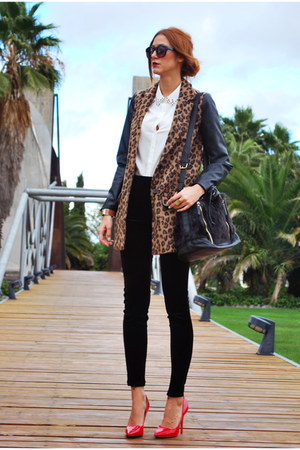 pull&amp;bear coat - Mango leggings - suiteblanco shirt - Stradivarius bag