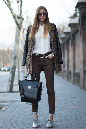 white Zara shirt - black Pull & Bear coat - black Zara bag - brown Zara pants
