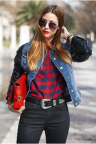 red checked Abercrombie&Fitch shirt - blue denim pull&bear jacket