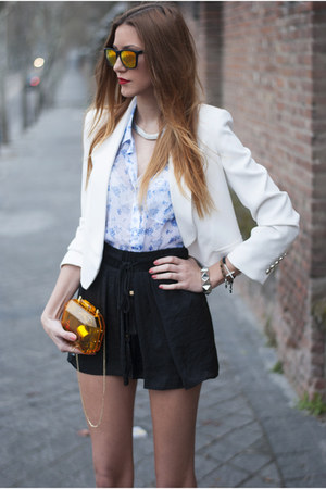 blue abercrombie & fitch shirt - white Mango blazer - orange Zara bag
