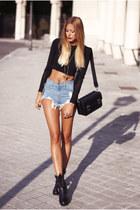 black Zara boots - black Zara bag - blue Sheinside shorts - black Zara jumper