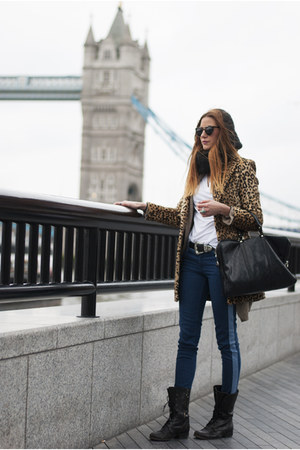 camel animal print Mango coat - black Ulanka boots - blue Stradivarius jeans