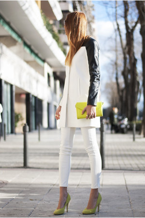 black Zara coat - white Bershka leggings - yellow Zara bag