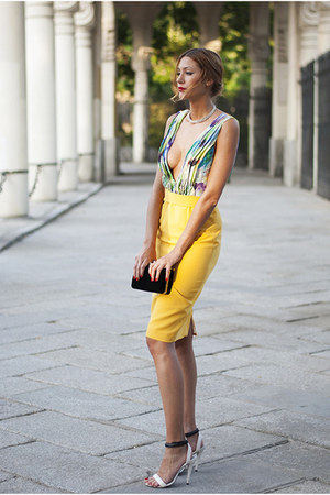 yellow designed by myself dress - black Zara bag - ivory Swarovsky ring